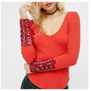 FP We The Free red Art School Cuff thermal top